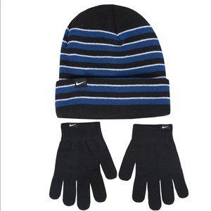 Boys Nike Beenie Gloves Hat Royal Black